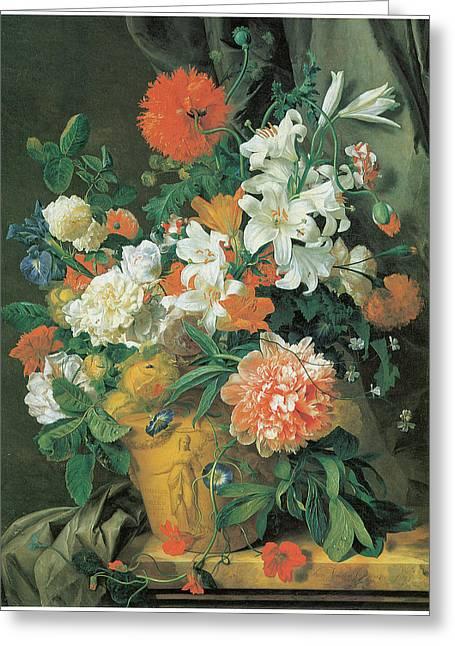 Vase Of Flowers Greeting Cards - Flowers in a terra Cotta Vase Greeting Card by Jan Van Huysum