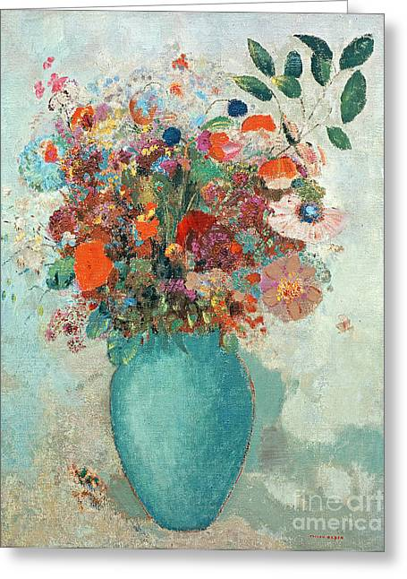 In Bloom Paintings Greeting Cards - Flowers in a Turquoise Vase Greeting Card by Odilon Redon