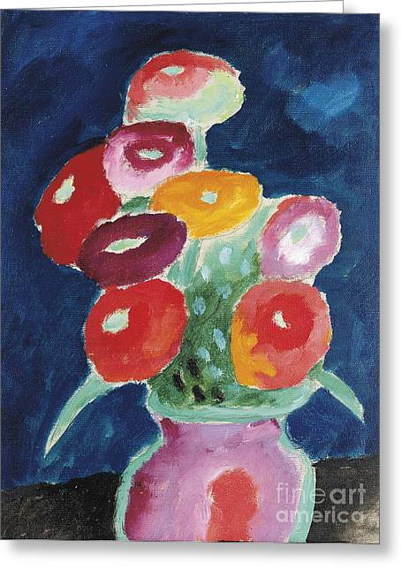 Strength Paintings Greeting Cards - Flowers in a Vase  Greeting Card by Celestial Images