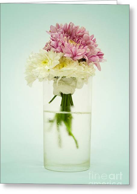 Rose Petals Greeting Cards - Flowers in a Vase Greeting Card by Apichart Meesri