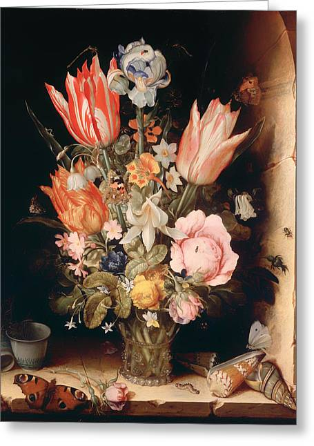 Ledge Greeting Cards - Flowers in a Vase Greeting Card by Christoffel van den Berghe