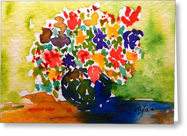 Interior Still Life Paintings Greeting Cards - Flowers in a Vase Greeting Card by Cristina Stefan