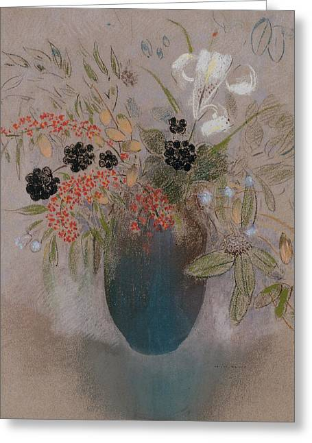 Flower Still Life Prints Greeting Cards - Flowers in a Vase Greeting Card by Odilon Redon