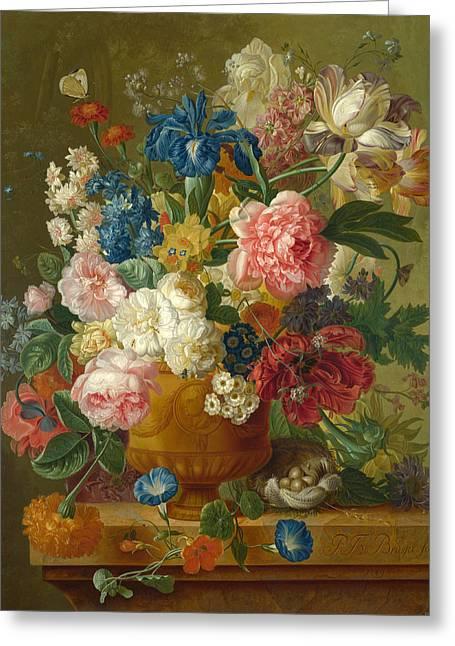 Brussel Greeting Cards - Flowers in a Vase Greeting Card by Paulus Theodorus van Brussel