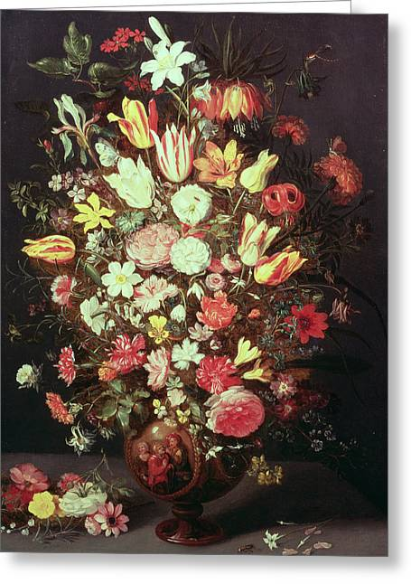Crt Greeting Cards - Flowers In A Vase Greeting Card by Phillipe de Marlier