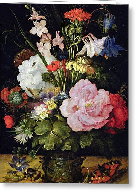 Wasps Greeting Cards - Flowers in a Vase Greeting Card by Roelandt Jacobsz Savery