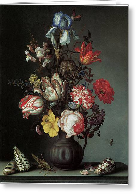 Grasshopper Paintings Greeting Cards - Flowers in a Vase with Shells and INsects Greeting Card by Balthasar Van Der Ast