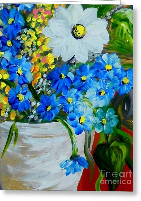 Best Sellers -  - Impressionist Greeting Cards - Flowers in a White Vase Greeting Card by Eloise Schneider