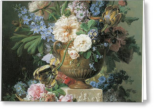 Flowers in an Alabaster Vase Greeting Card by Gerard Van Spaendonck