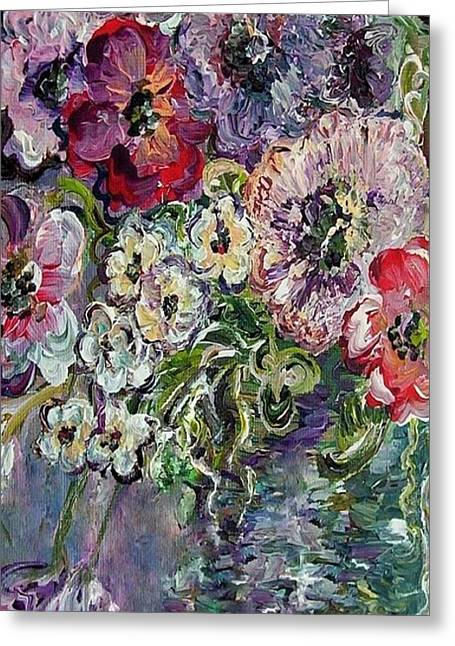 Best Sellers -  - Impressionist Greeting Cards - Flowers in an Antique Blue Vase Greeting Card by Eloise Schneider