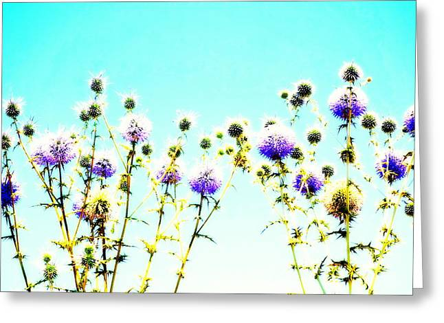 Psychiatric Greeting Cards - Flowers In Blue Greeting Card by Hilde Widerberg
