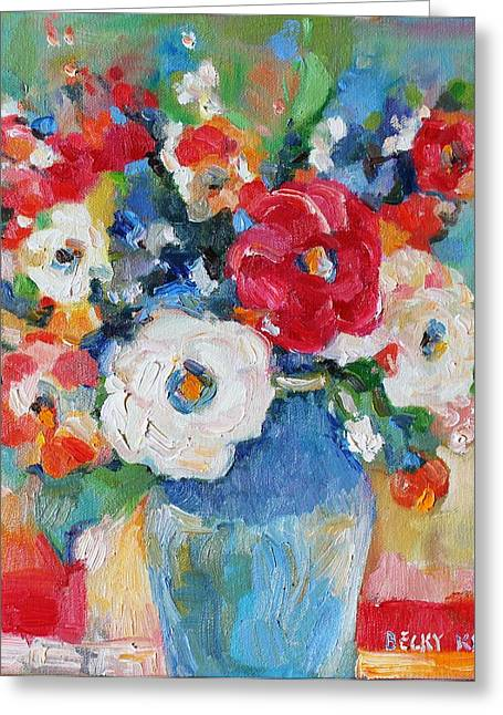 Becky Kim Greeting Cards - Flowers in Blue Vase 1 Greeting Card by Becky Kim