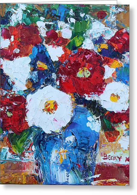 Flowers In Blue Vase 2 Greeting Card by Becky Kim