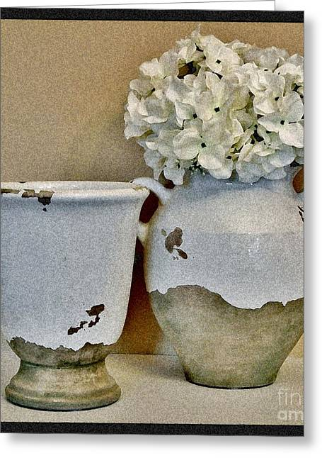 Floral Photos Greeting Cards - Flowers in European Pottery Greeting Card by Marsha Heiken