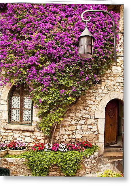 Provence Village Greeting Cards - Flowers in Eze Greeting Card by Brian Jannsen