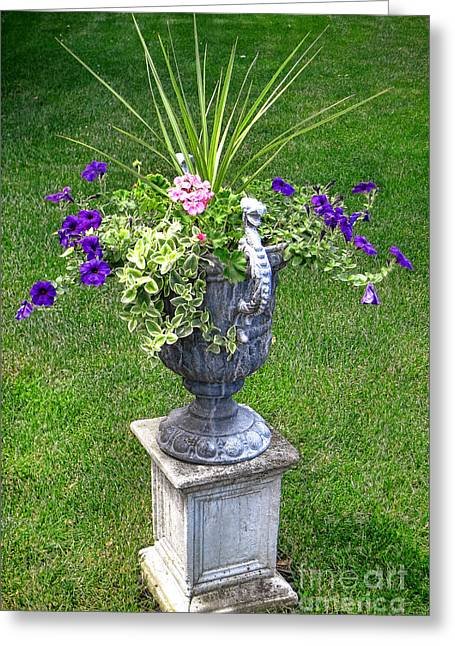 Planter Greeting Cards - Flowers in Garden Urn Greeting Card by Olivier Le Queinec
