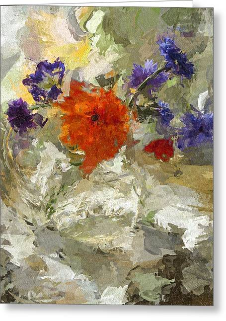 Flowers In Glass Jar Greeting Card by Yury Malkov