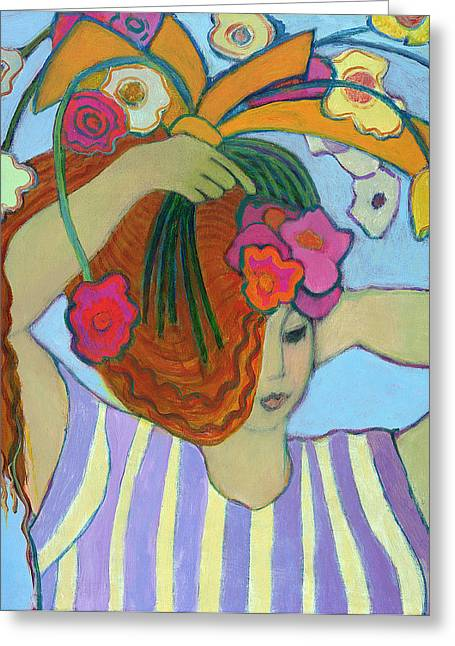 Dressing Up Greeting Cards - Flowers In Her Hair, 2003-04 Greeting Card by Jeanette Lassen