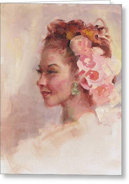 Soft Light Paintings Greeting Cards - Flowers in her Hair - portrait Greeting Card by Talya Johnson
