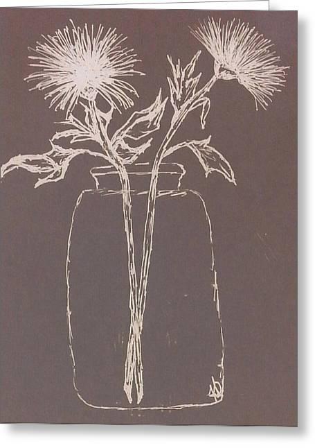 Water Jars Drawings Greeting Cards - Flowers In Jar Greeting Card by Zully Bartley