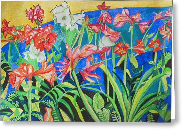Acrylic Art Greeting Cards - Flowers in Polyphony Greeting Card by Esther Newman-Cohen