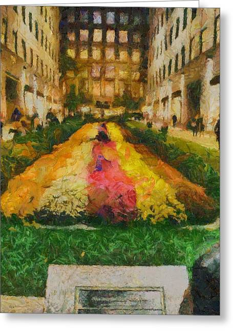 New Mind Paintings Greeting Cards - Flowers In Rockefeller Plaza Greeting Card by Dan Sproul
