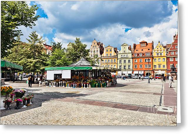 Polish Culture Greeting Cards - Flowers in Salt Square - Wroclaw Poland Greeting Card by Frank Bach