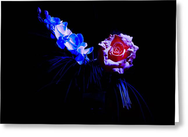 Fuselier Greeting Cards - Flowers in the Dark Greeting Card by Cecil Fuselier