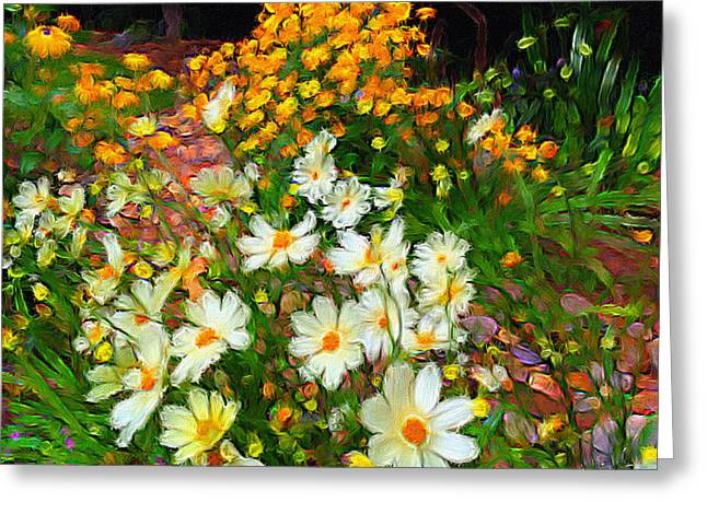 Garden Scene Greeting Cards - Flowers in the Garden Greeting Card by Alan Lakin