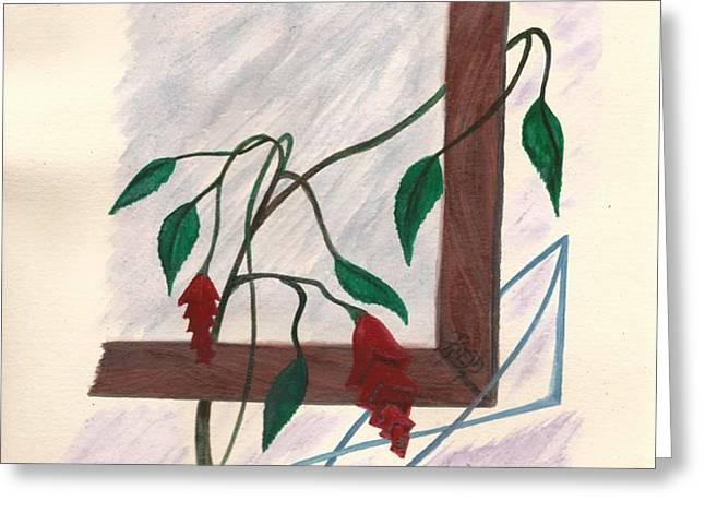 flowers in the window Greeting Card by Robert Meszaros