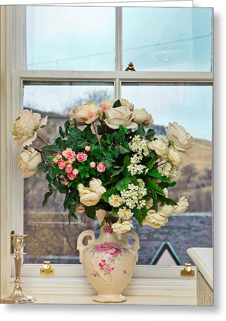 Flowers In The Window Greeting Card by Tom Gowanlock