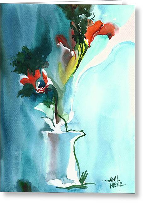 Amazing Sunset Paintings Greeting Cards - Flowers in Vase Greeting Card by Anil Nene