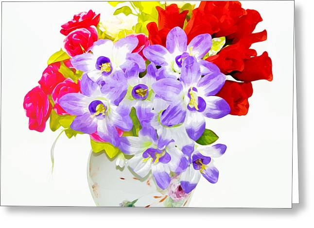 Anthony Caruso Greeting Cards - Flowers in Vase Greeting Card by Anthony Caruso