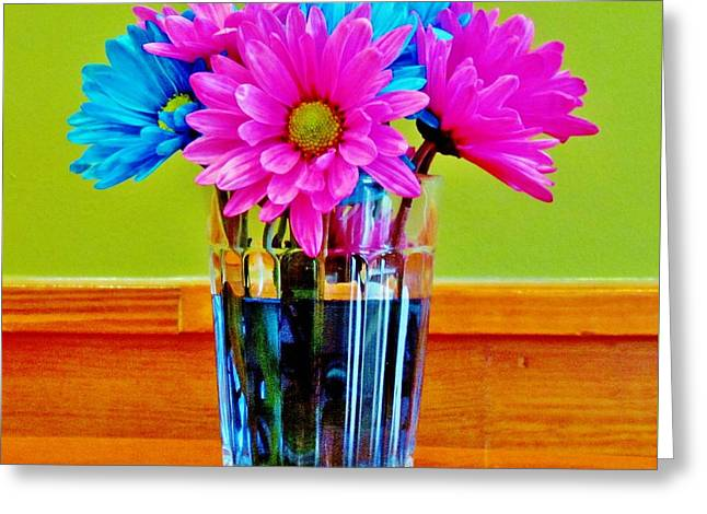 Glass Vase Greeting Cards - Flowers In Vase Greeting Card by Cynthia Guinn