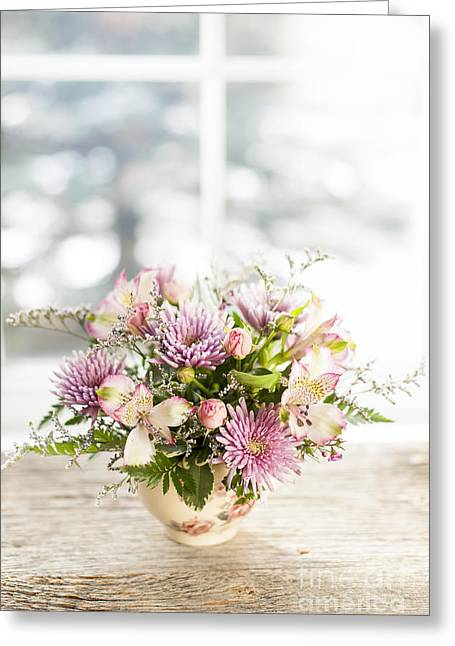 Teacup Greeting Cards - Flowers in vase Greeting Card by Elena Elisseeva