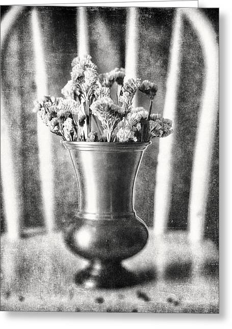 Sunlight On Flowers Greeting Cards - Flowers in Vase Still Life in Black and White Greeting Card by Lisa Russo