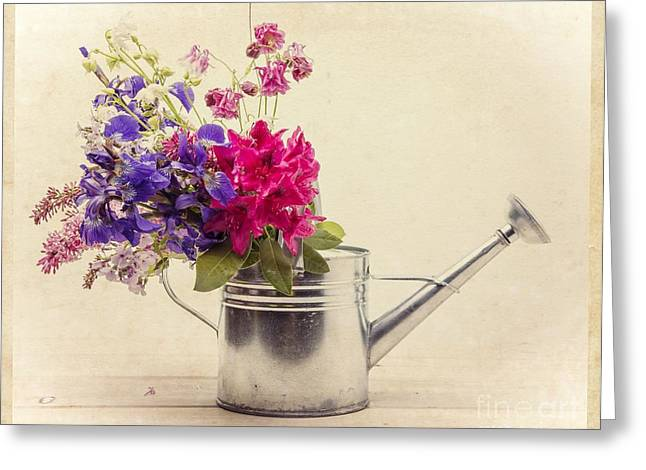 Can Greeting Cards - Flowers in Watering Can Greeting Card by Edward Fielding