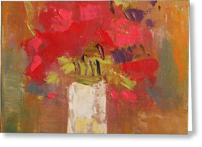Flowers in White vase Greeting Card by Becky Kim