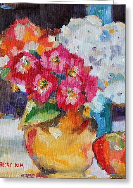 Becky Greeting Cards - Flowers in Yellow Vase with an Apple Greeting Card by Becky Kim