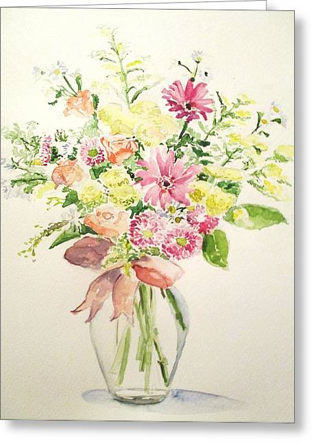 Glass Vase Drawings Greeting Cards - Flowers				 Greeting Card by Maria Mimi