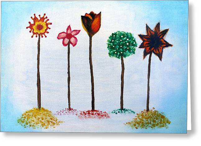 Whimsical. Greeting Cards - Flowers Greeting Card by Maya Pagal