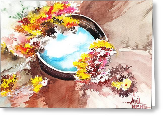 Flowers N Sky Greeting Card by Anil Nene