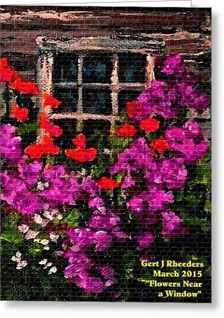 Abstract Digital Pastels Greeting Cards - Flowers Near a Window H a Greeting Card by Gert J Rheeders