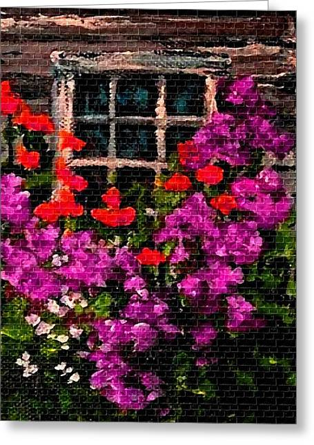 Cellphone Pastels Greeting Cards - Flowers Near a Window H b Greeting Card by Gert J Rheeders