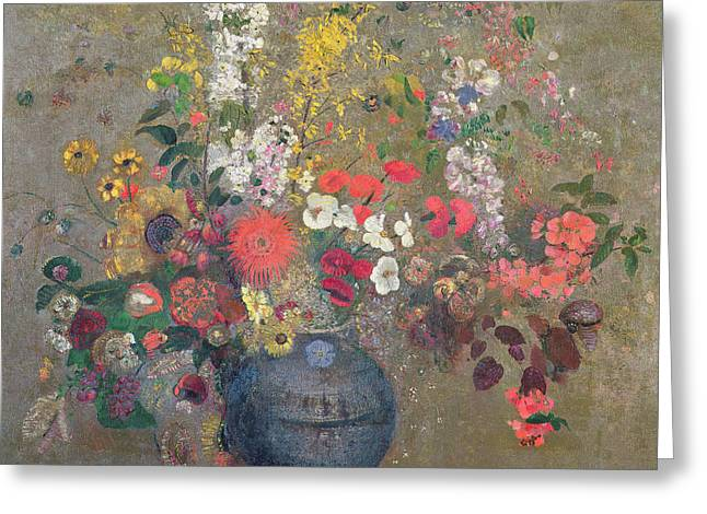 Flower Still Life Prints Greeting Cards - Flowers Greeting Card by Odilon Redon