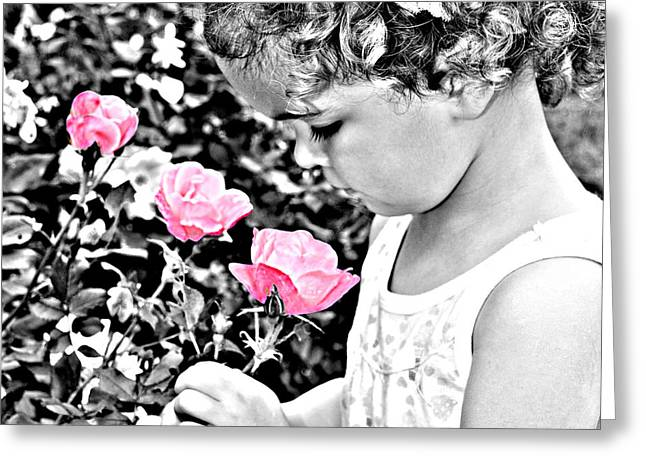 Girl Smelling A Flower Greeting Cards - Flowers of Age Greeting Card by Hans Castleberg
