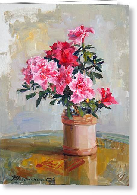 Flower Still Life Greeting Cards - Flowers of azalia Greeting Card by Victoria Kharchenko
