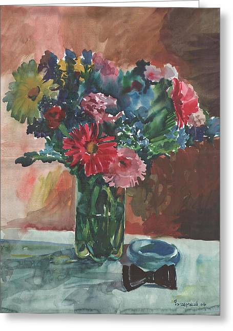Anna Lobovikov-katz Greeting Cards - Flowers of Italy with a bow tie and a blue bracelet Greeting Card by Anna Lobovikov-Katz
