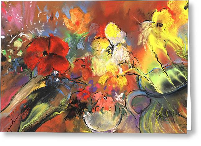 Glass Vase Drawings Greeting Cards - Flowers of Joy Greeting Card by Miki De Goodaboom