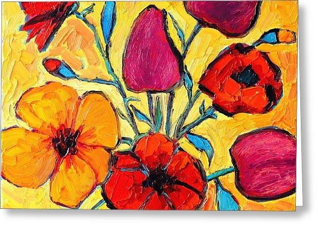Whimsical. Greeting Cards - Flowers Of Love Greeting Card by Ana Maria Edulescu
